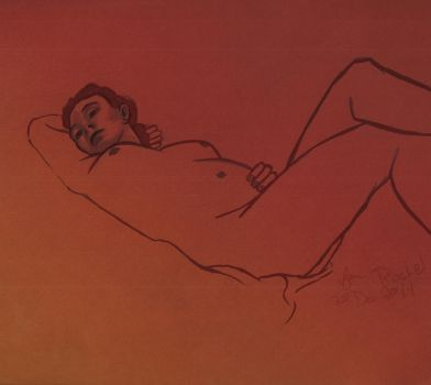 Life Drawing - Recumbent in red by Juandfr