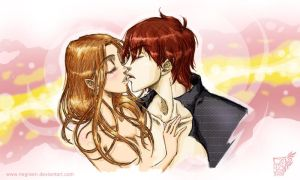 Bella and Edward kiss by Negreen