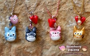 4 totoro charm necklaces by yael360