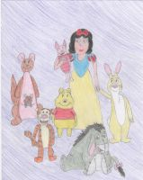 Snow White with her friends by DisneyPrincessNeeNee