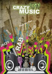 crazy music poster photoshop by minaluiz