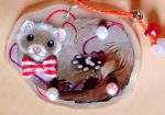 Ferret with pearls charm by PixelRaccoon