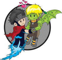 Wiccan and Hulkling by mitani-chan