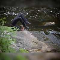 Contorting at the top of Doane Falls by GothicRavenMidnight