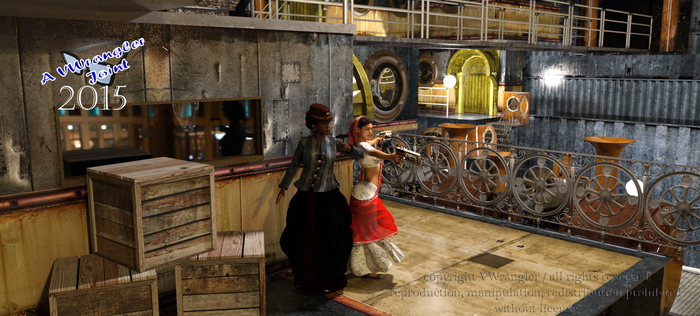 Steampunk Honorine and Indira (Iray) by vwrangler