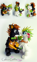 Wedding Griffins - clay sculpture - cake topper by CalicoGriffin