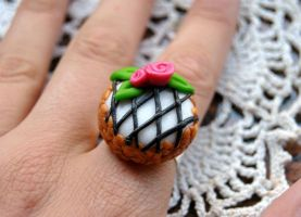 Flower cheesecake ring by Kurenai87