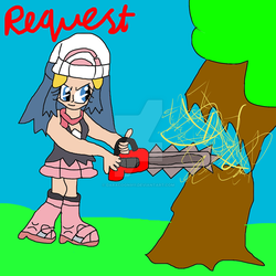 Request- Dawn Cutting a Tree with a Chainsaw