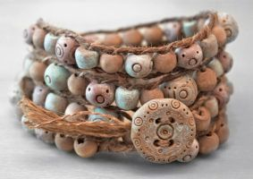 Rustic Wrap Bracelet with Handmade beads by OneUrbanTribe