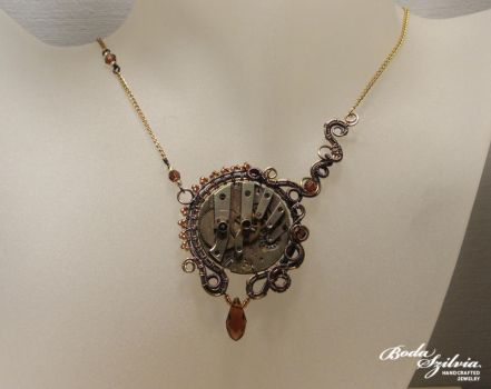 Copper and brass steampunk necklace by bodaszilvia