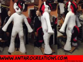 BJ OC MLP Pony Horse Fursuit red/black/white by AtalontheDeer
