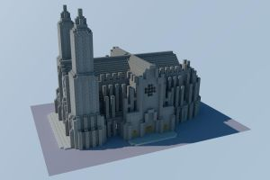 Minecraft Cathedral - WIP 4 by andrei030