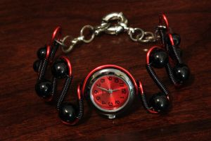 Cybergoth Jewelry - Red and Black - Watch Bracelet by CatherinetteRings