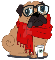 Starbarks Scarf Pug by InkCell-Illustration