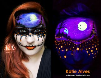 Dripping with Halloween - Black Light Makeup by KatieAlves