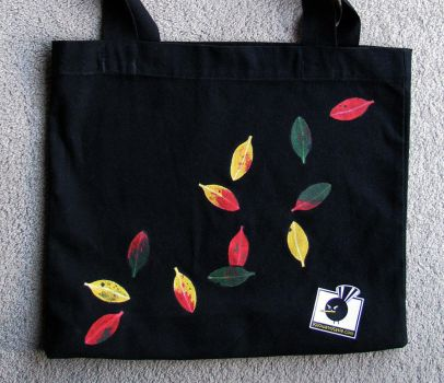 Pohutukawa hand-painted bag by KilowattKatie