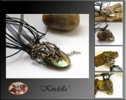 Kindella- wire wrapped pendant by mea00