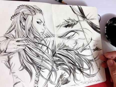 Sketch, Tauriel by eDufRancisco