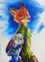 Zootopia Nick WIlde / Judy Hopps colored pencil by KR-Dipark