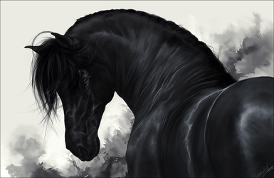 .:Black Horse:. by WhiteSpiritWolf