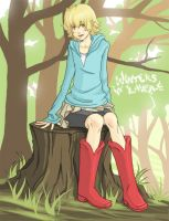 Kari on a Stump by Ahvia