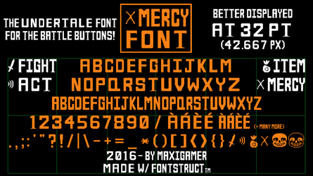 MERCY Font, the UNDERTALE font for battle buttons! by MaxiGamer