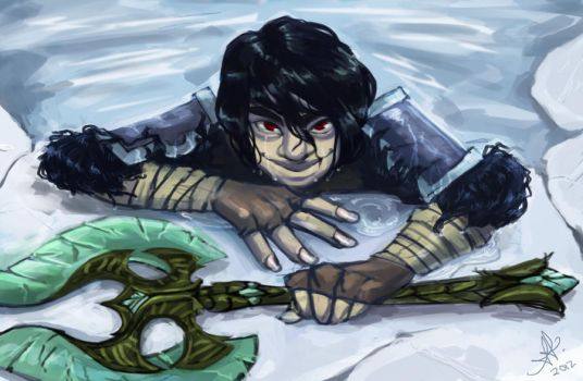 Skyrim: Creeper in icy water by noroone