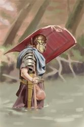 045 - roman legionary WIP (initial sketch) by NickProkoArt