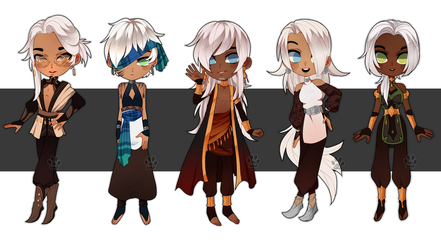 White haired chibis [CLOSED] by Pixel-Latte