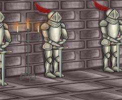 Inside Castle with Armour by Louisetheanimator