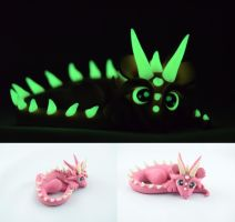 Pink glow in dark dragon - prize in contest by claymeeples