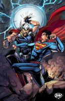 Comission Superman vs Thor by toonfed