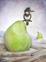 Kingfisher and Pear by ursulav