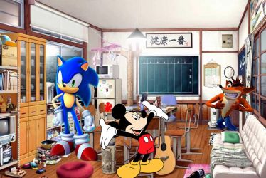 Mickey, Sonic and Crash by ratchetsly2324
