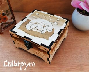 Wooden cat box by ChibiPyro