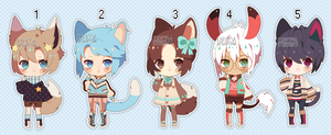 Set Price Kemonos (Closed) by Kariosa-Adopts