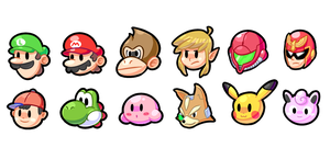 Super Smash Bros icons (original 12) by ShyKitty20