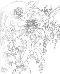 Static Shock, Gear, Rubberband Man and She-Bang by Vaughn787