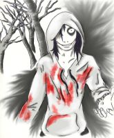 Jeff the killer in the wood (a color) by YohansDark