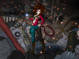 Hakiza Super Saiyan 4 in the Ruined City by timz115