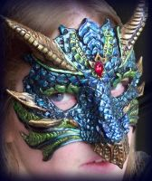 Blue Green Dragon Mask by Namingway