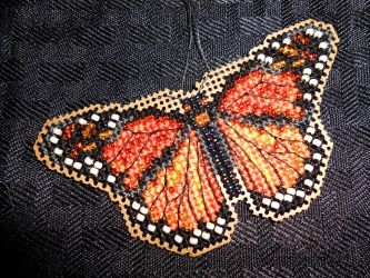 Monarch Butterfly - Beaded Cross Stitch Kit by FireWings26