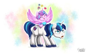 Shining Armor and Flurry Heart by mysticalpha
