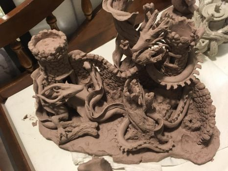 (Unfinished) Dialogue of the Dragons by FrogsmeadCeramics