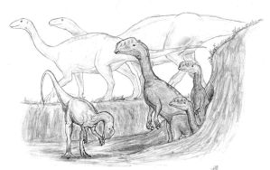 Dilophosaurus Family by Ashere