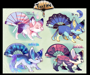 Sky themed  Foxfans // Auction// CLOSED! by Belliko-art