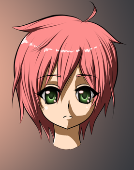 Cute girl with short red hair - Colored by canavaro100
