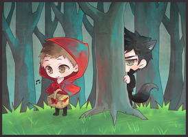 Little Red Riding Hood and the Big Bad Wolf by wndyxxox