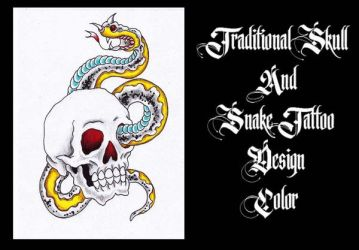 Traditional Skull and Snake Tattoo Design Color! by Halasaar01