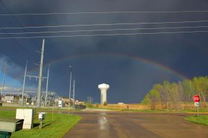 05-05-2018 - Gretna, NE - Rainbow Over Watertower by WxKnowltey